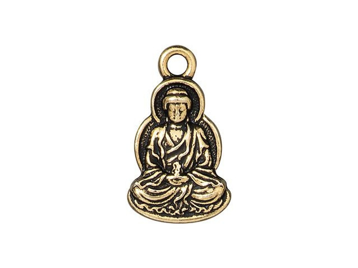 TierraCast Antique Gold-Plated Pewter Buddha Charm