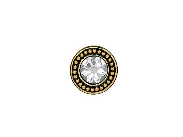 TierraCast Antique Gold-Plated Pewter Button with Swarovski Crystal