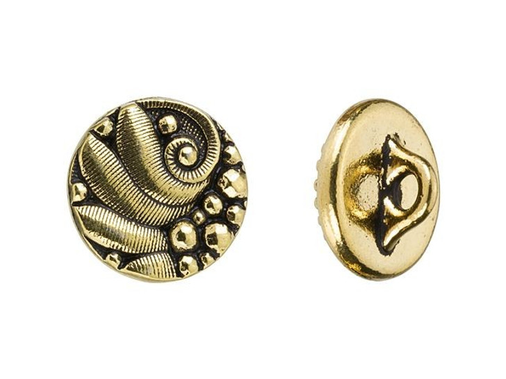 TierraCast Antique Gold-Plated Pewter Czech Round Button