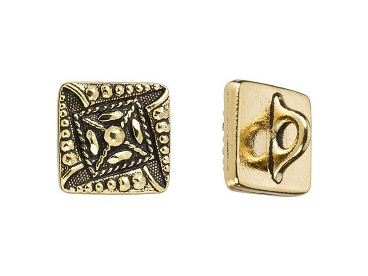 TierraCast Antique Gold-Plated Pewter Czech Square Button