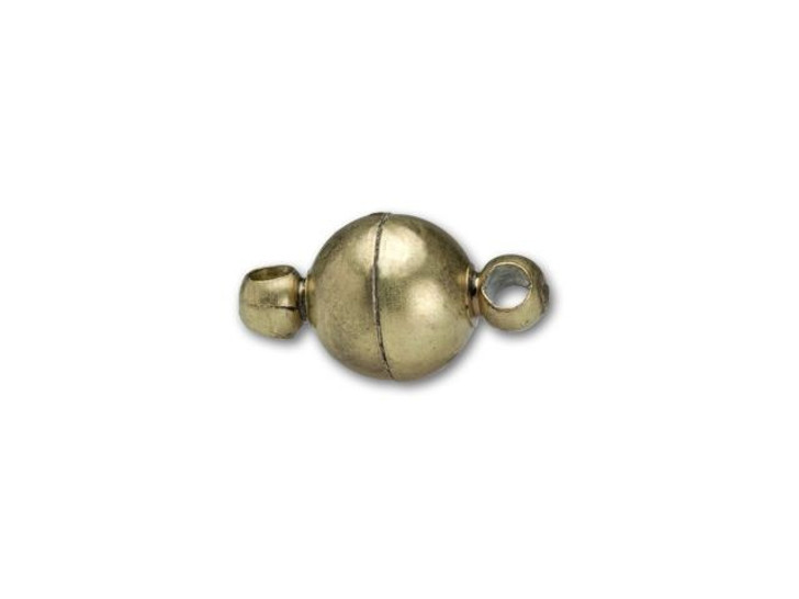 6mm Antique Brass-Plated Round Magnetic Clasp