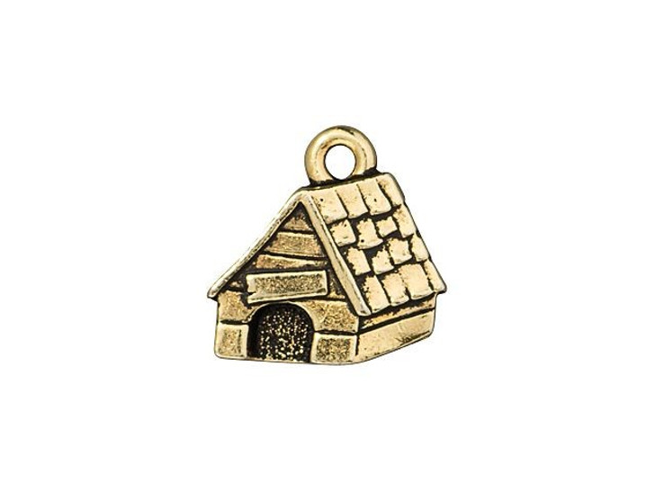 TierraCast Antique Gold-Plated Pewter Dog House Charm