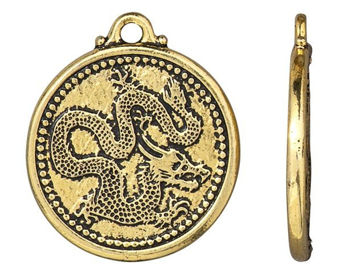 TierraCast Antique Gold-Plated Pewter Dragon Coin Pendant