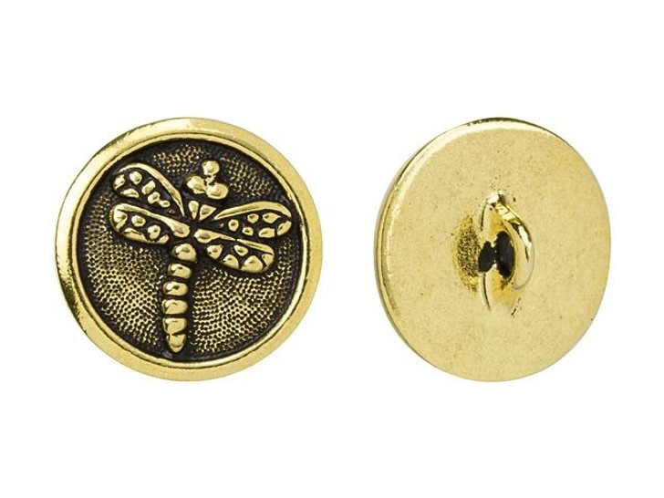 TierraCast Antique Gold-Plated Pewter Dragonfly Button