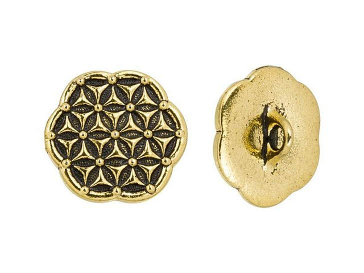 TierraCast Antique Gold-Plated Pewter Flower of Life Button