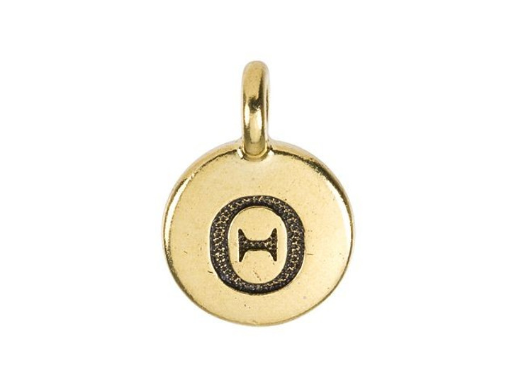 TierraCast Antique Gold-Plated Pewter Greek Letter Charm - Theta