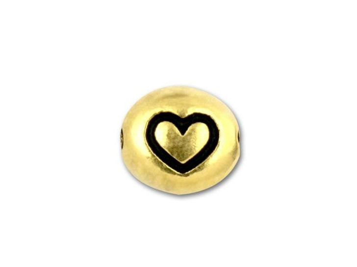 TierraCast Antique Gold-Plated Pewter Heart Bead