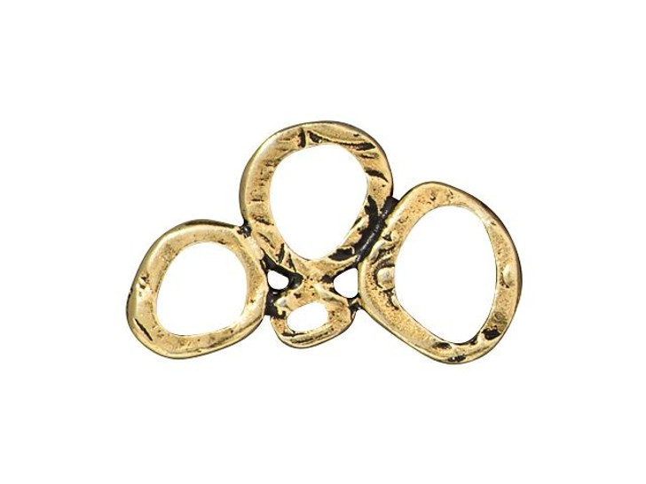 TierraCast Antique Gold-Plated Pewter Intermix 3-Rings Link