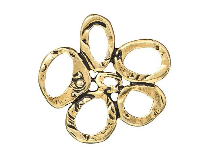 TierraCast Antique Gold-Plated Pewter Intermix 5-Rings Link