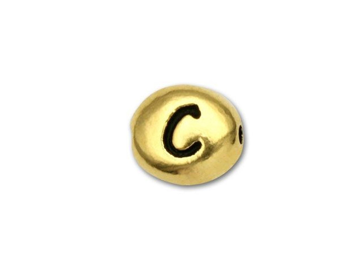 TierraCast Antique Gold-Plated Pewter Letter Bead - C