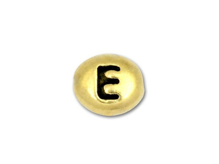 TierraCast Antique Gold-Plated Pewter Letter Bead - E