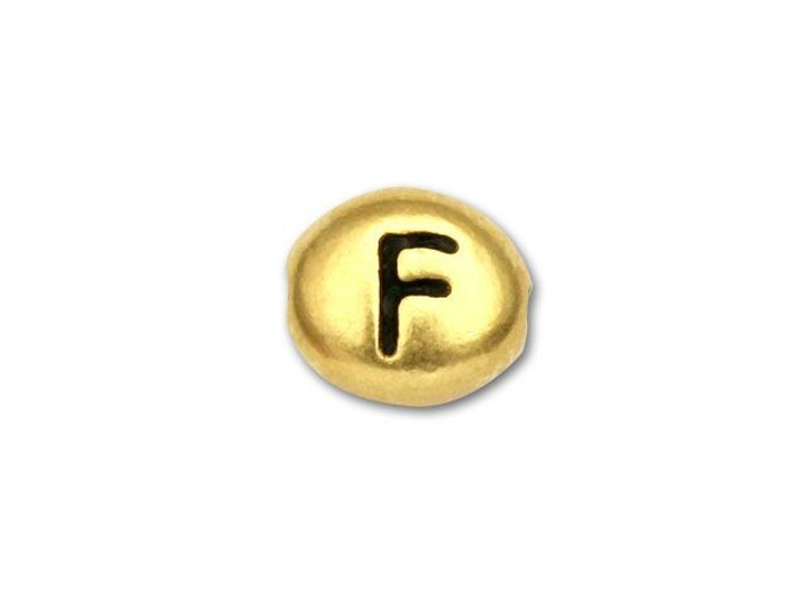 TierraCast Antique Gold-Plated Pewter Letter Bead - F