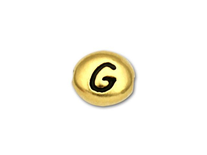 TierraCast Antique Gold-Plated Pewter Letter Bead - G