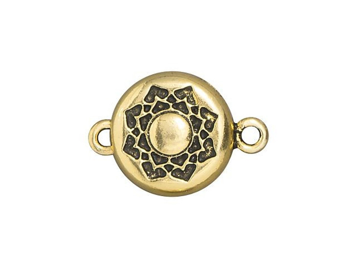 TierraCast Antique Gold-Plated Pewter Lotus Magnetic Clasp Set