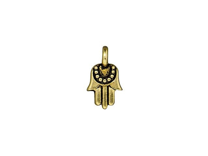 TierraCast Antique Gold-Plated Pewter Mini Hamsa Charm
