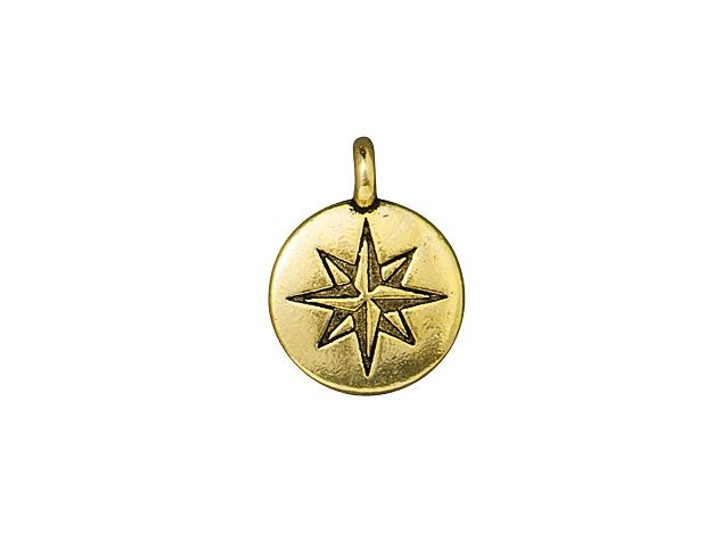 TierraCast Antique Gold-Plated Pewter Mini North Star Charm
