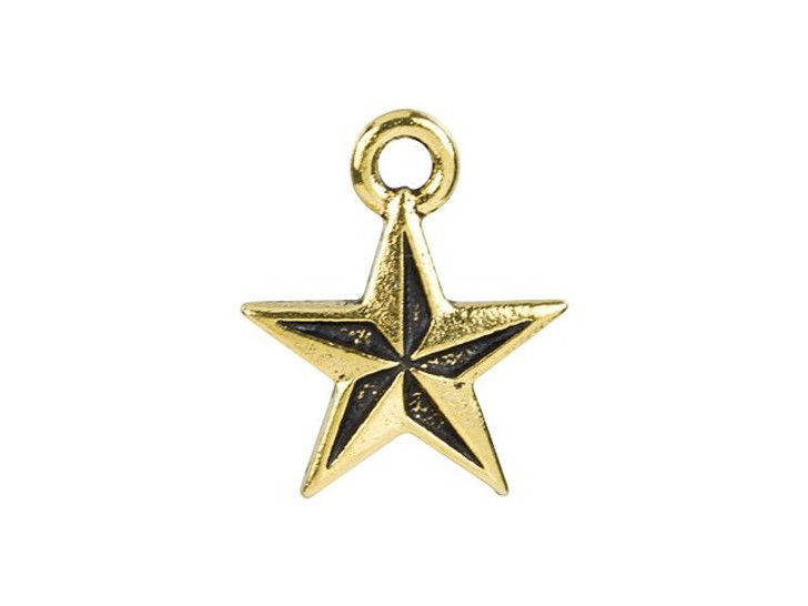 TierraCast Antique Gold-Plated Pewter Nautical Star Charm