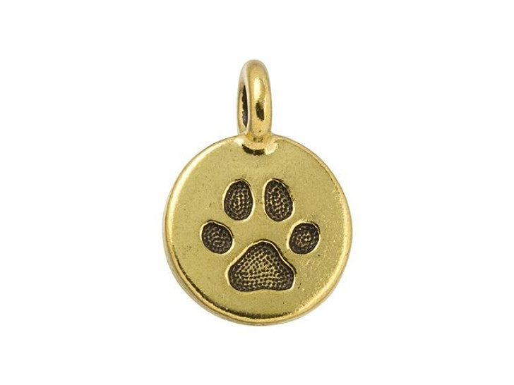 TierraCast Antique Gold-Plated Pewter Paw Charm