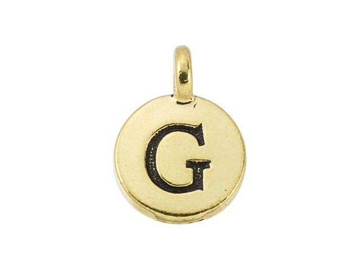 TierraCast Antique Gold-Plated Pewter Round Alphabet Charm - G
