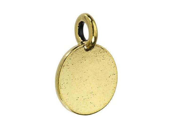 TierraCast Antique Gold-Plated Pewter Round Alphabet Charm - K