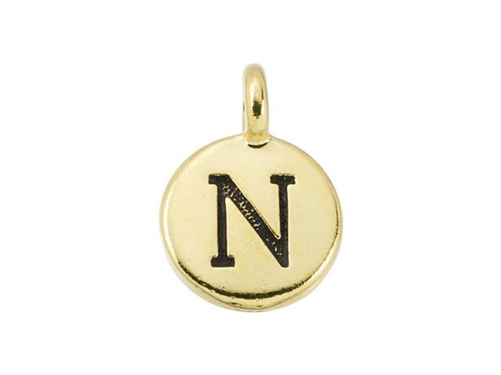 TierraCast Antique Gold-Plated Pewter Round Alphabet Charm - N