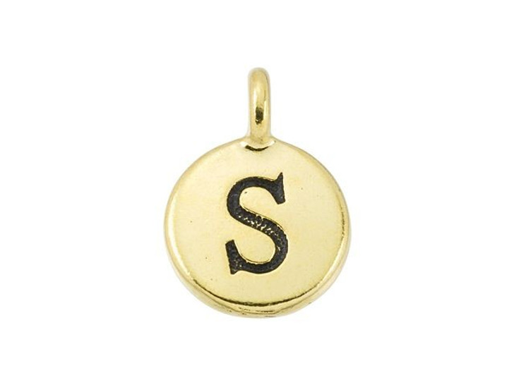 TierraCast Antique Gold-Plated Pewter Round Alphabet Charm - S
