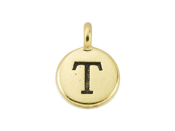 TierraCast Antique Gold-Plated Pewter Round Alphabet Charm - T