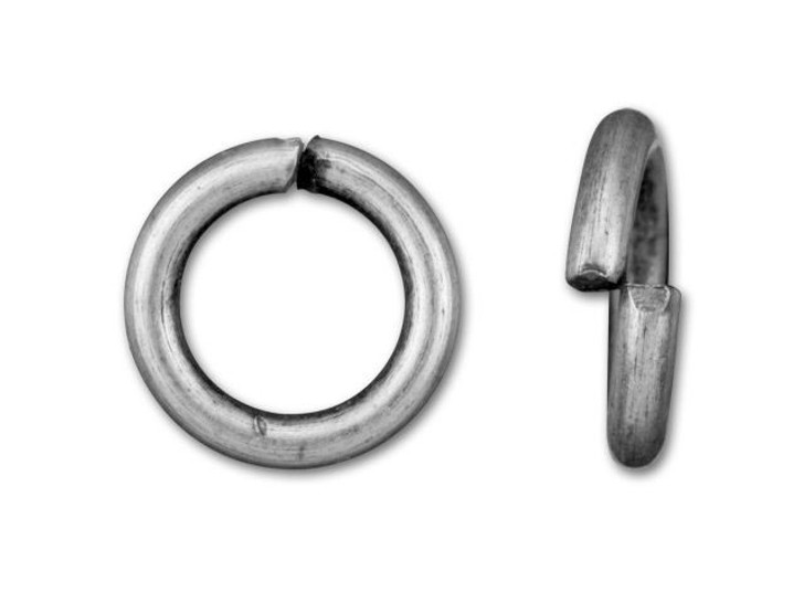 6mm Antique Silver-Plated Open Jump Ring - 18 Gauge