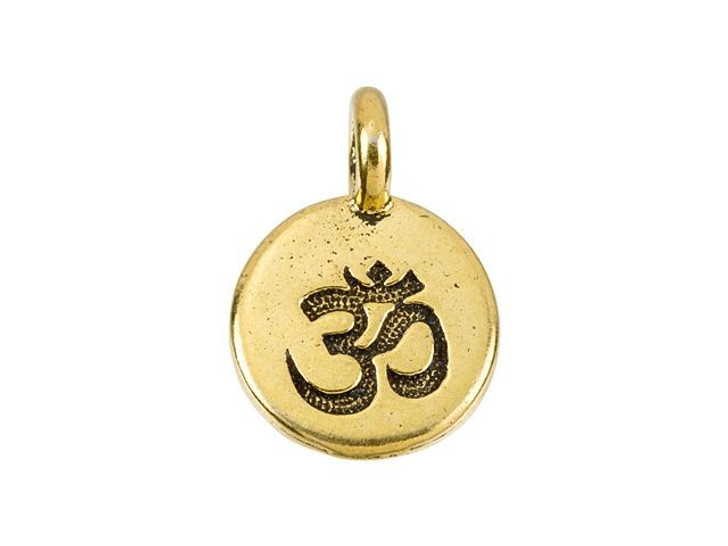 TierraCast Antique Gold-Plated Pewter Round OM Charm