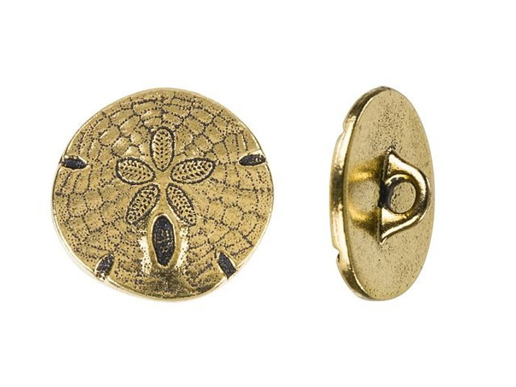 TierraCast Antique Gold-Plated Pewter Sand Dollar Button