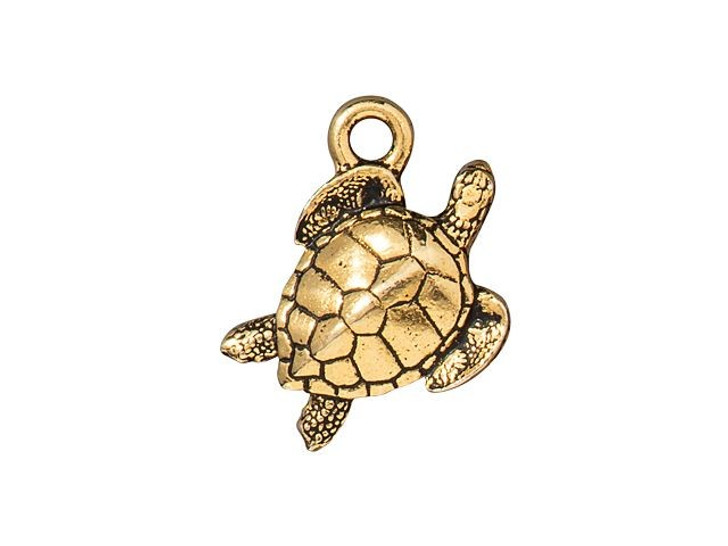 TierraCast Antique Gold-Plated Pewter Sea Turtle Charm