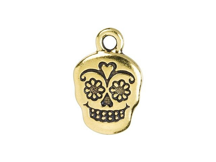 TierraCast Antique Gold-Plated Pewter Sugar Skull Charm