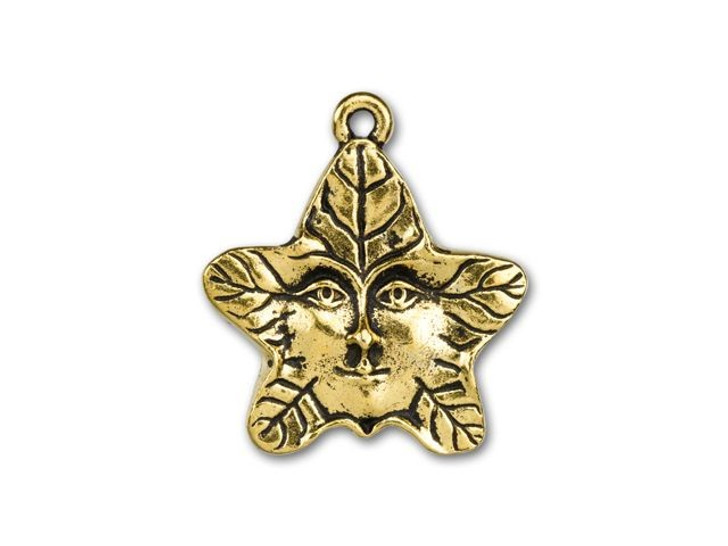 TierraCast Antique Gold-Plated Pewter Tree Spirit Star Leaf Charm