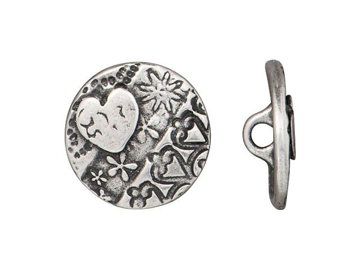 TierraCast Antique Pewter Amor Round Button