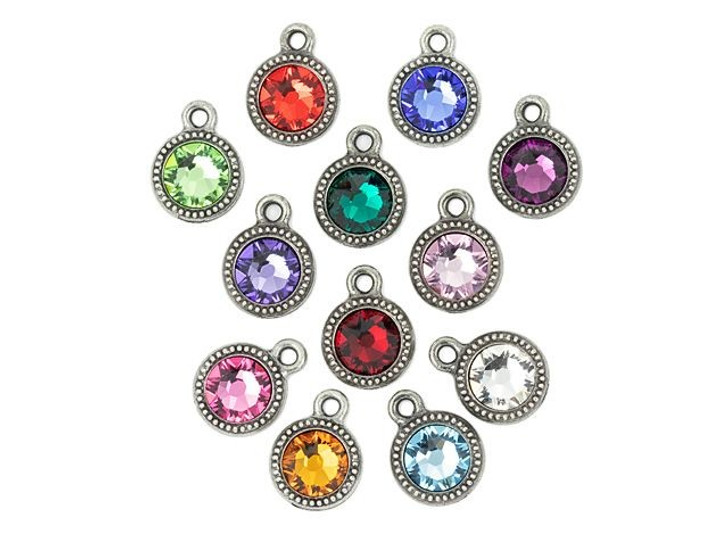 TierraCast Antique Pewter Beaded Bezel Charm Birthstone Mix with Swarovski Crystal (12 pcs)
