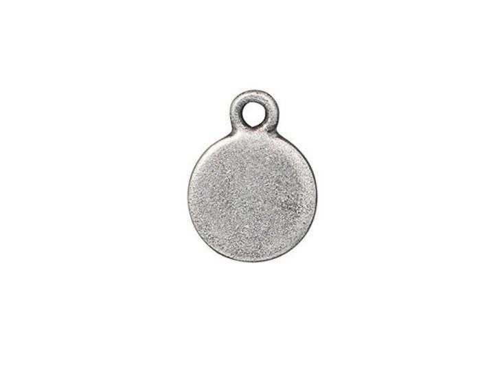 TierraCast Antique Pewter Beaded Bezel Charm with Sapphire Swarovski Crystal