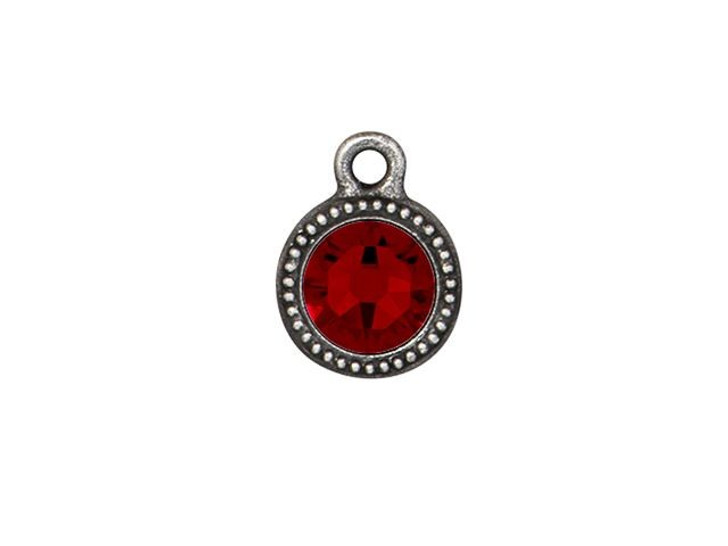 TierraCast Antique Pewter Beaded Bezel Charm with Siam Swarovski Crystal