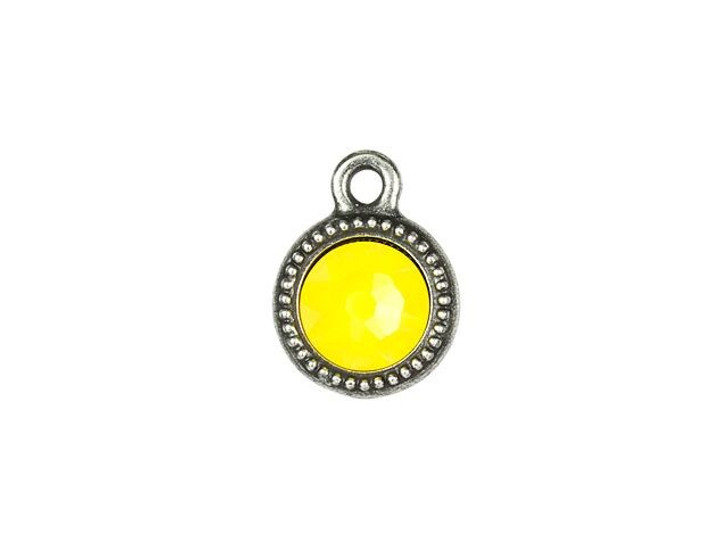 TierraCast Antique Pewter Beaded Bezel Charm with Yellow Opal Swarovski Crystal