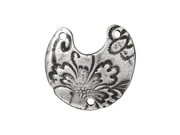 TierraCast Antique Pewter Reversible Flora Crescent Link