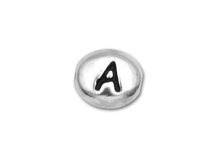 TierraCast Antique Rhodium-Plated Pewter Alphabet Bead - A