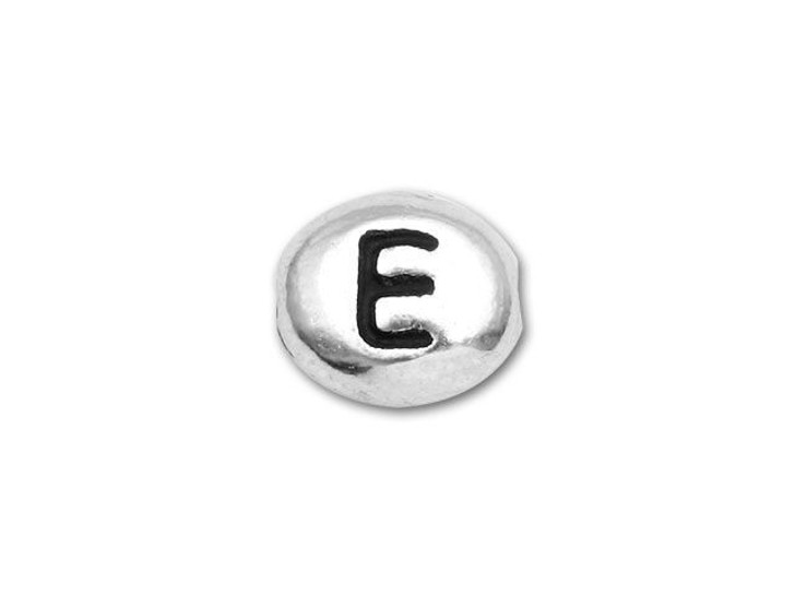 TierraCast Antique Rhodium-Plated Pewter Alphabet Bead - E
