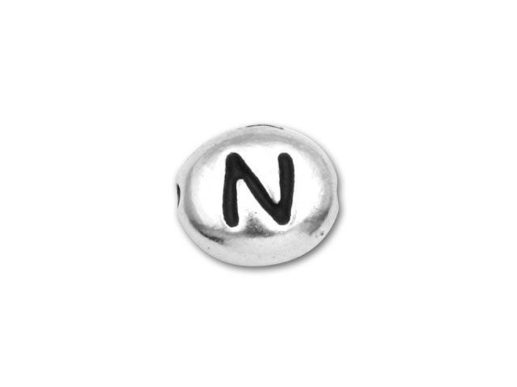 TierraCast Antique Rhodium-Plated Pewter Alphabet Bead - N