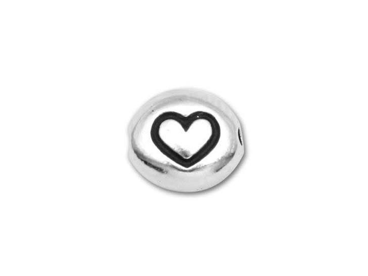 TierraCast Antique Rhodium-Plated Pewter Symbol Bead - Heart