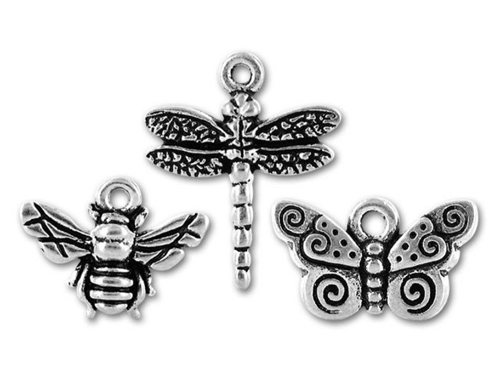 TierraCast Antique Silver Bee, Dragonfly, and Butterfly Charm Mix (3 pack)