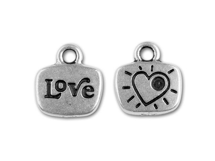 TierraCast Antique Silver Crystal Glue-In Message Charm - Love