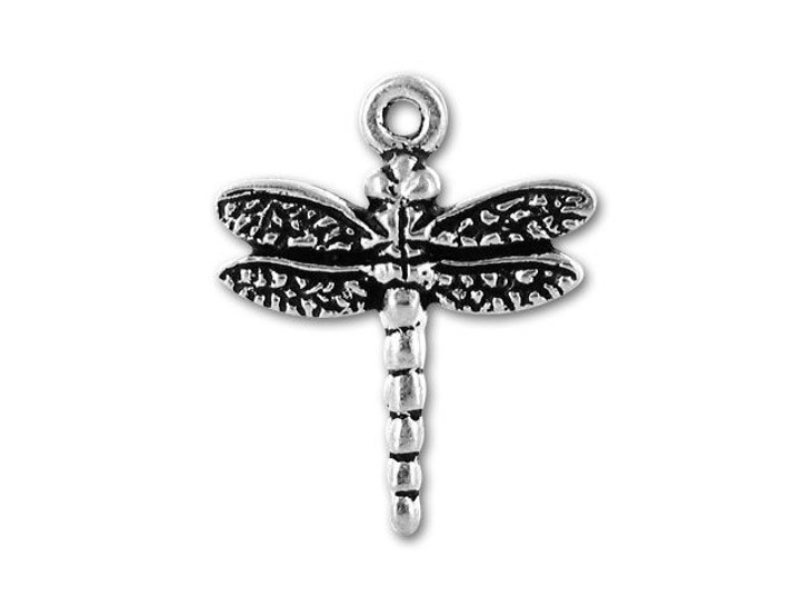 TierraCast Antique Silver Dragonfly Charm