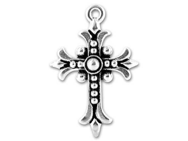 TierraCast Antique Silver Fleur Cross Charm