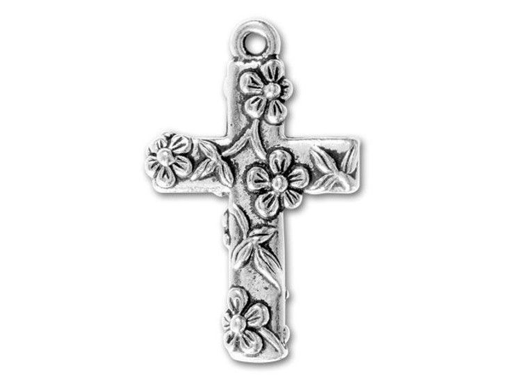 TierraCast Antique Silver Floral Cross Charm
