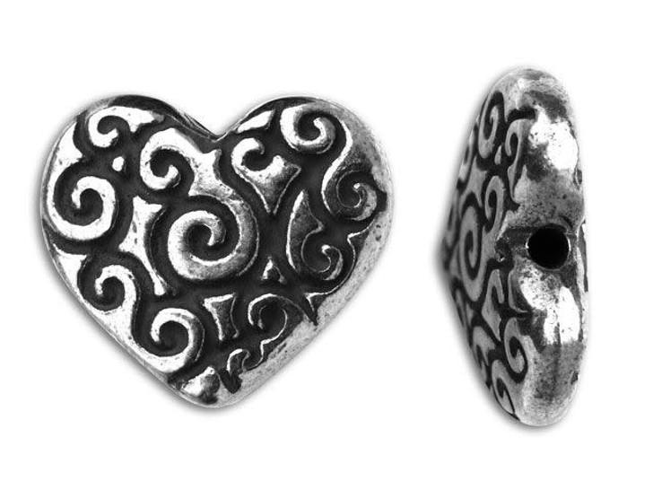 TierraCast Antique Silver Heart Scroll Bead