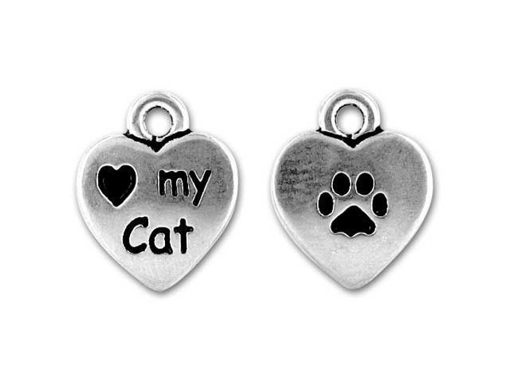 TierraCast Antique Silver I Love My Cat Charm